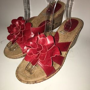 Red Leather Cork Bottom Sandals, Sz 8 by BOC
